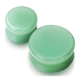 Jade Color Flourite Green Aventurine Semi Precious Stone Saddle Plug (Sold Indiv.) (Sold Indiv.)