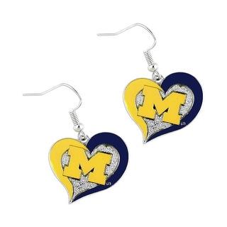 Michigan Wolverines Swirl Heart Dangle Logo Earring Set Charm Gift NCAA