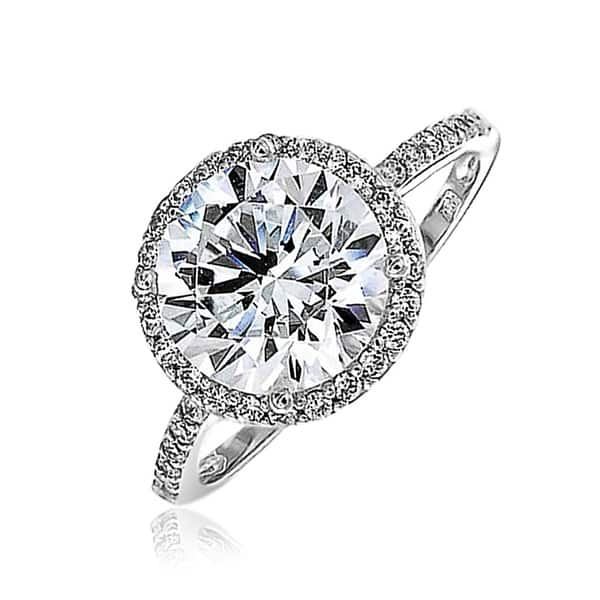 0dfd1634c9f Thin Solitare Band Vintage Style Colorless Pave Halo Cubic Zirconia 925  Sterling Silver Round CZ Engagement ...
