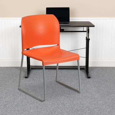 880 lb. Capacity Full Back Contoured Stack Chair with Powder Coated Sled Base