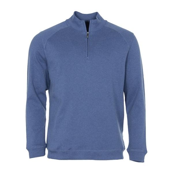 Kirkland Signature Cotton 1/4 Zip Pullover Sweatshirt Blue Heather Solid