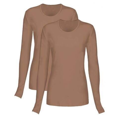 T Flex Womens Long Sleeve T-Shirt 2 Pack, Underscrub Tee Layering Shirt
