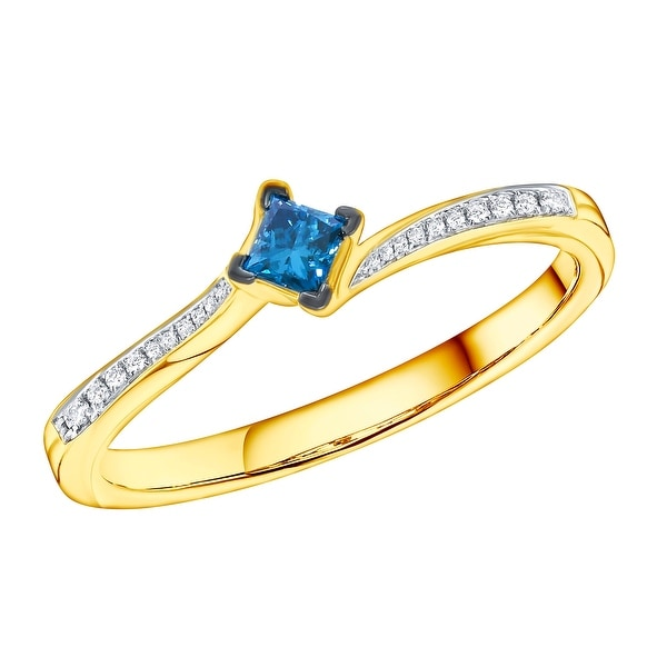 Prism Jewel 0.18ct Blue Color Princess Diamond with Diamond Engagement Ring - White H-I