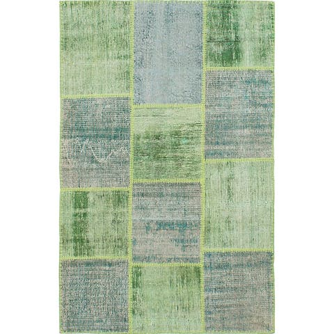 ECARPETGALLERY Hand-knotted Color Transition Patchwork Green Wool Rug - 4'0 x 6'3