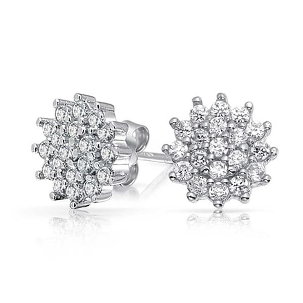 7c38d03a0 Shop Flower Crown Cubic Zirconia Pave CZ Cluster Stud Earrings For Women  925 Sterling Silver 10MM - On Sale - Free Shipping On Orders Over $45 -  Overstock - ...