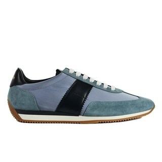 Tom Ford Mens Two Tone Blue Suede Orford Low Top Sneakers