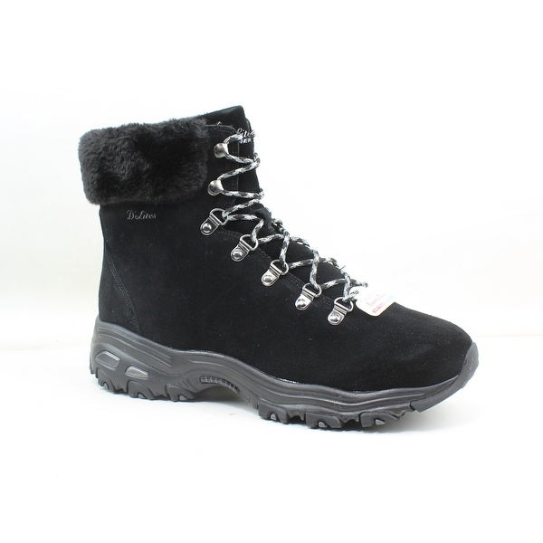 Shop Skechers Womens D'lites Alps Black Snow Boots Size 10