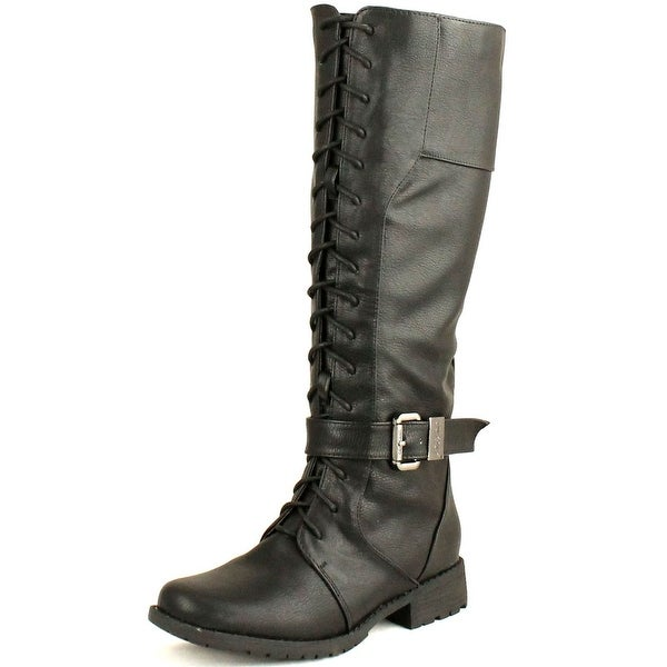 Dbdk Calcia-6 Womens Round Toe Knee High Combat Riding Boots With Side Zipper