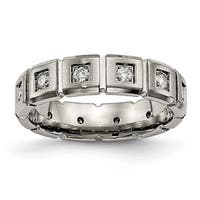 Titanium Brushed/Polished Grooved CZ Ring (5 mm)