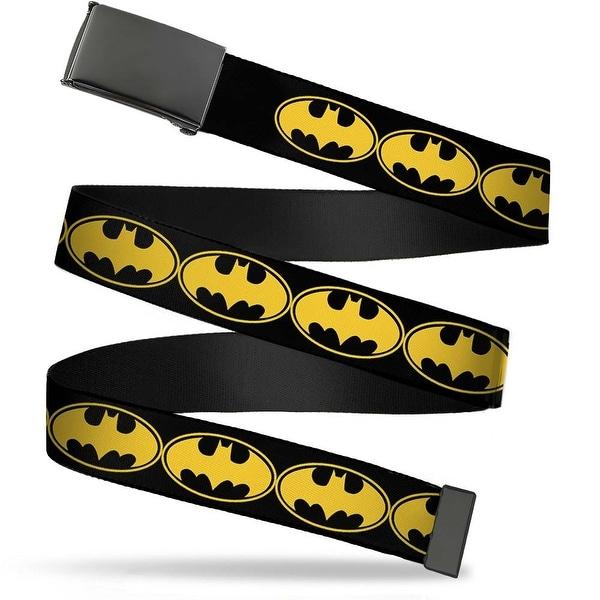 Blank Black Buckle Bat Signal 3 Black Yellow Black Webbing Web Belt