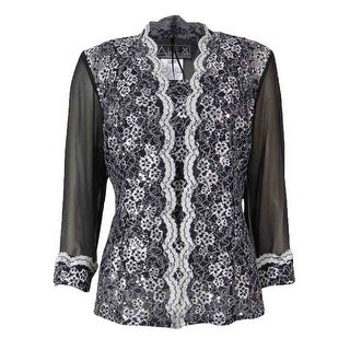 Alex Evenings Women's 2PC Scalloped Lace Chiffon Blouse Set - Black/White