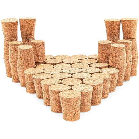 "50 Pack Size #8 Tapered Cork Plugs 1"", Suitable for Most Wine and Beer Bottles"