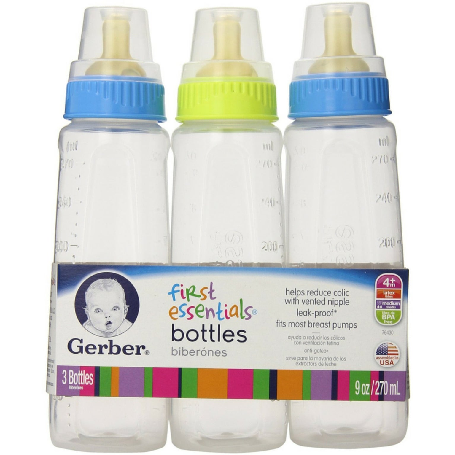6 count Gerber First Essentials 9 oz Baby Bottles in different colors