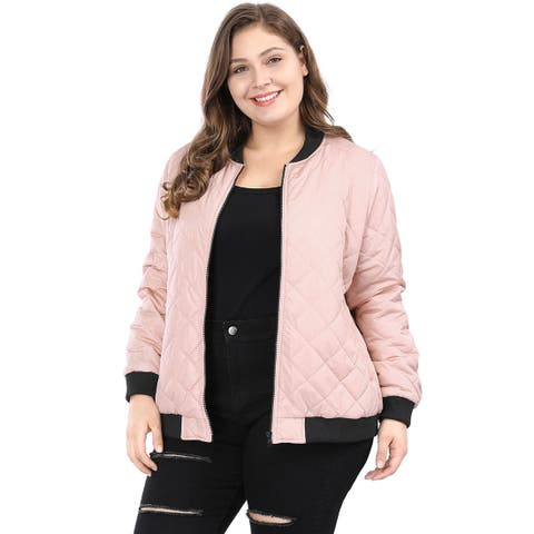 Women's Plus Size Contrast Trim Zip Up Quilted Jacket - Pink
