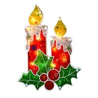 """12"""" Lighted Holographic Berry Candle Christmas Window Silhouette - RED"""
