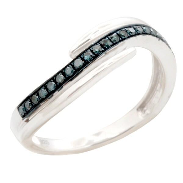 Brand New Round Brilliant Cut Blue Color Diamond Wishbone Ring