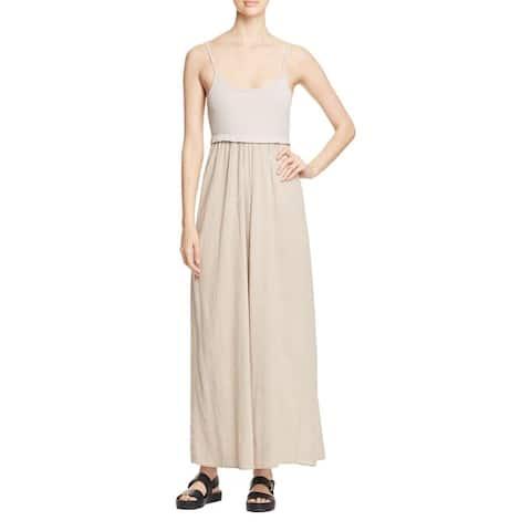 Three Dots Womens Sarah Maxi Dress Cotton Mixed Media