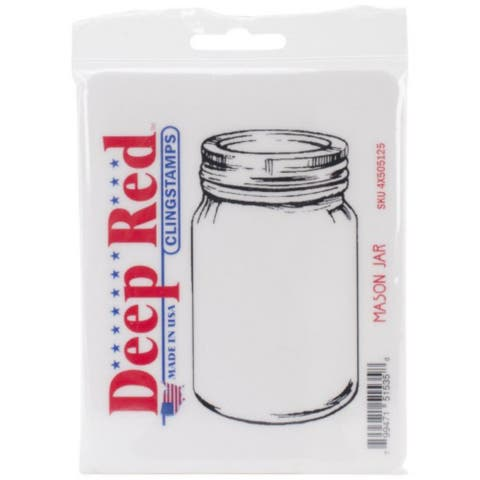 Deep Red Stamps Mason Jar Rubber Cling Stamp - 2.1 x 3.75