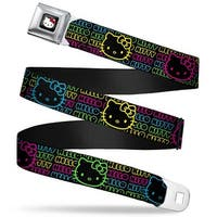 Hello Kitty W Red Bow Full Color Black Hello Kitty Face Outline Black Pink Seatbelt Belt