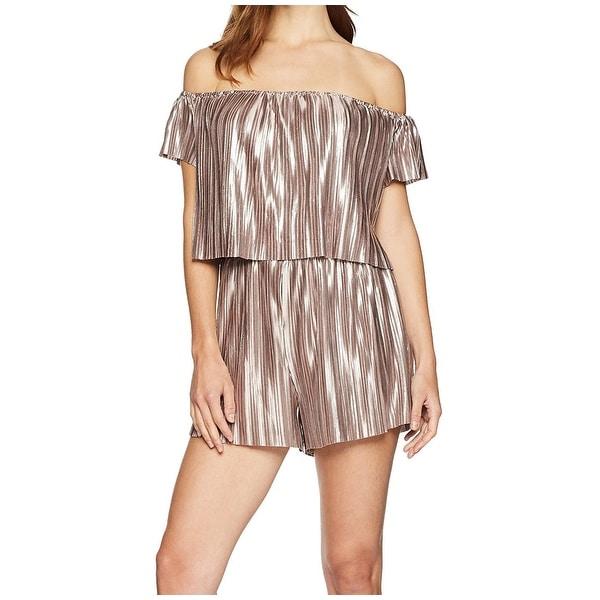 cdb4de746fc1c Shop Guess Pink Womens Size XS Pleated Off Shoulder Shimmer Romper ...