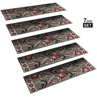"Non-Slip Mats Rubber Backing Stair Treads Set of 7 ( 8.5"" x 26"" )"