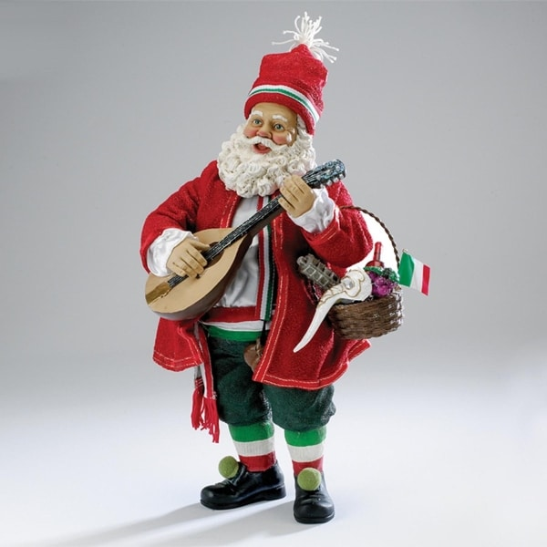 10 red and green fabricha musical italian santa with mandolin christmas table top topper - Italian Christmas Table Decorations