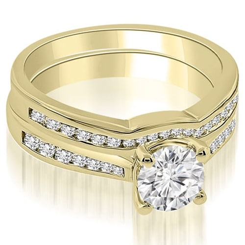 0.94 cttw. 14K Yellow Gold Cathedral Channel Set Round Diamond Bridal Set