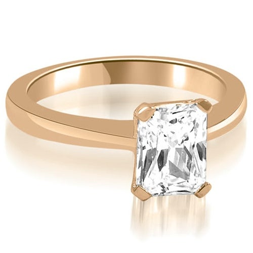 0.75 cttw. 14K Rose Gold Solitaire Emerald Cut Diamond Engagement Ring