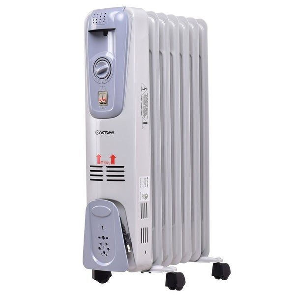 Costway 1500w Electric Oil Filled Radiator E Heater 7 Fin Thermostat Room Radiant