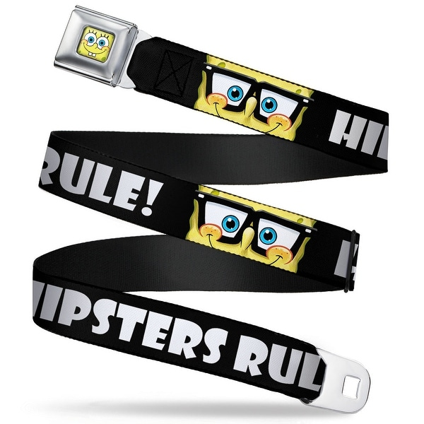 Sponge Bob Face Close Up Sponge Bob Nerd Hipsters Rule! Black White Webbing Seatbelt Belt