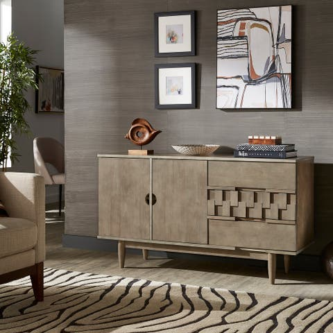 Milton Mid-Century Wood 2-Door and 3-Drawer Server by iNSPIRE Q Modern