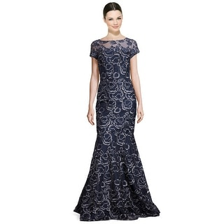 David Meister Embroidered Lace Illusion Mermaid Evening Gown Dress - 8