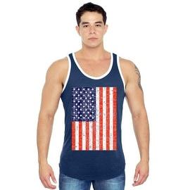Men's USA Flag Tank Top Jumbo Distressed Red WHITE & Blue Stars & Stripes Pride