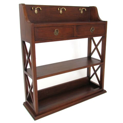 X Sides Wooden Wall Display Rack with 2 Drawers and 2 Open Shelves, Brown - As Pictured