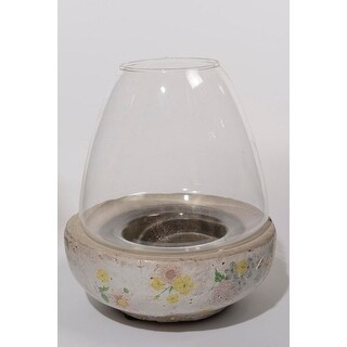 "7"" Tea Garden Antique-Style Distressed Glazed Floral Glass Hurricane Pillar Candle Holder"