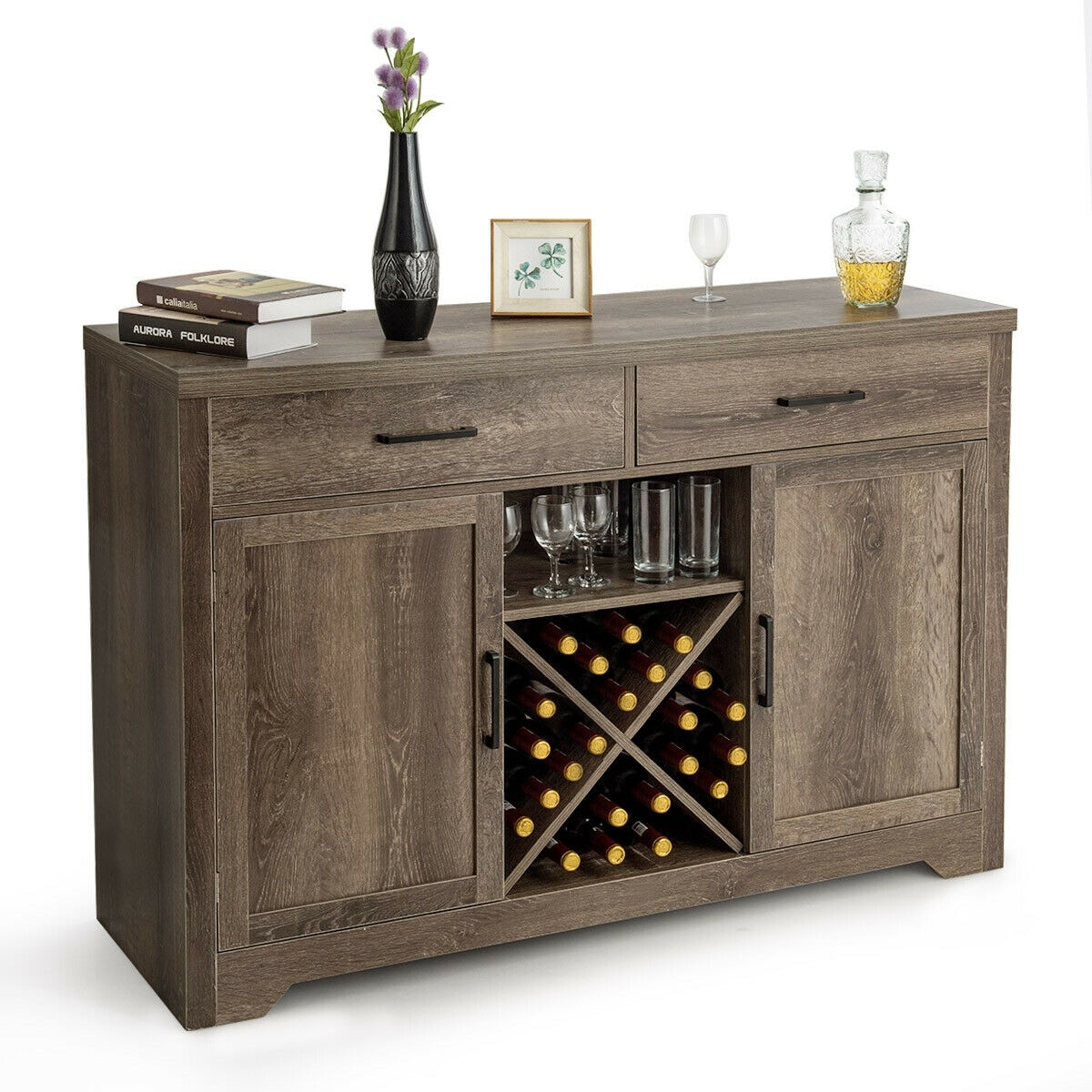 Picture of: Shop Costway Buffet Cabinet Sideboard Console Storage Cabinet Side Cabinet 52 X 18 X 36 On Sale Overstock 27876764