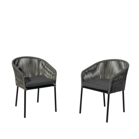 Courtyard Casual Osborne Black Aluminum Outdoor Dining Chairs, 2 pc set with Cushions