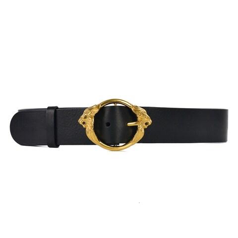 Roberto Cavalli Womens Black Leather Gold Lion Head Buckle Belt