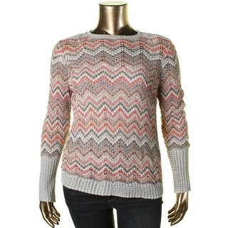 Nic + Zoe Womens Chevron Knit Pullover Sweater