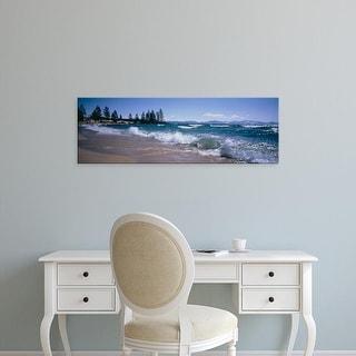 Easy Art Prints Panoramic Images's 'Trees along a lake, Lake Tahoe, Nevada, USA' Premium Canvas Art