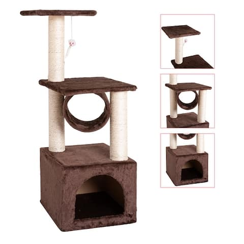 """Global Pronex 3-Tier Cat Tree Stand 36"""" Cat Climb Tree Cat Tower House Furniture Cat Activity Tower Pet Play House (Purple)"""