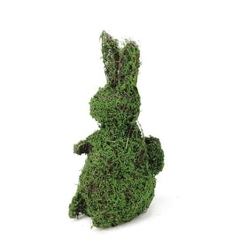 """13.75"""" Brown Vine and Green Moss Bunny Rabbit with Back Basket Spring Table Top Easter Decoration"""