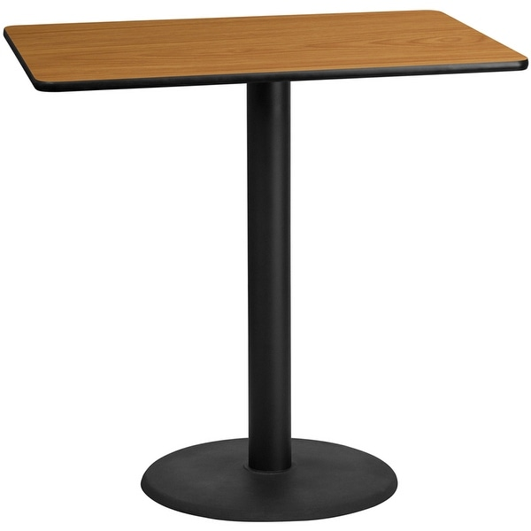 """Dyersburg 30'' x 48'' Rectangular Natural Table Top w/42""""H Round Base. Opens flyout."""