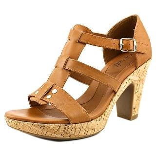 Eurosoft by Sofft Fonda Women Open Toe Leather Tan Platform Sandal
