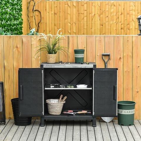 Outsunny Garden Storage Cabinet Adjustable Shelves Tool Shed Waterproof PP & Galvanized Steel Storage Organizer