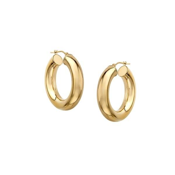 Just Gold Tube Hoop Earrings in 14K Gold - YELLOW