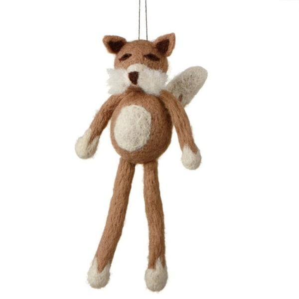 "7"" Fuzzy Wildlife Friends Brown Fox with Dangling Legs Christmas Ornament"