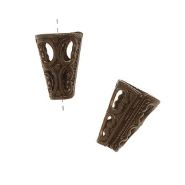 Vintaj Natural Brass Filigree Cone End Caps For Beads (2)