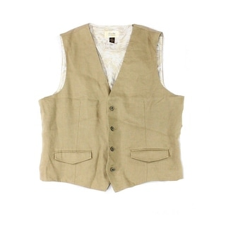 Tasso Elba NEW Safari Beige Mens Size Small S Faux-Pocket Linen Vest