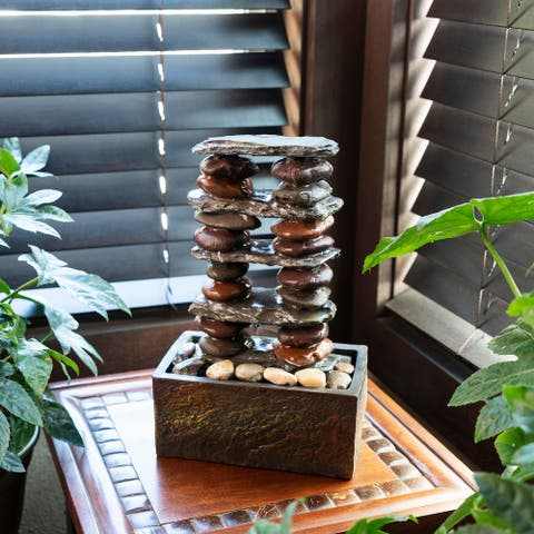 Alpine Stacked Rocks Eternity Tabletop Fountain, 12 Inch Tall